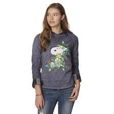 snoopy christmas sweatshirt peanuts by schulz snoopy juniors christmas sweatshirt