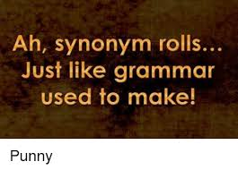 Meme Synonyms - ah synonym rolls just like grammar used to make punny meme on me me