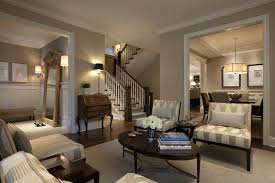 two tone paint color living room contemporary with wood trim