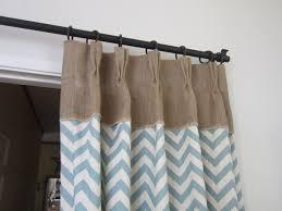 Blue Burlap Curtains Burlap Window Treatments With Beige And Blue Chevron