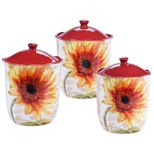 sunflower kitchen canisters certified international sunflower 3 canister set