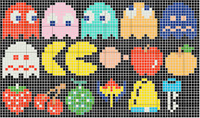 pacman cross stitch and needlepoint patterns sprite stitch