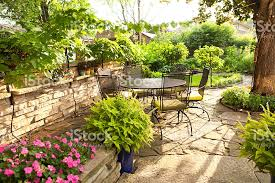Potted Plants For Patio Landscaped Back Yard Patio Garden With Potted Plants Furniture
