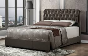 viola button tufted leather bed