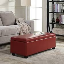 amazon com belleze red ottoman bench top storage living room bed
