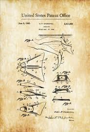 swim fin patent 1943 patent prints wall decor diver gift