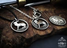 silver coin necklace pendants images Hand cut and recycled irish hare coin necklace jpg