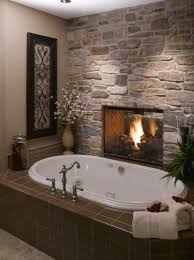 bathroom cool small bathroom design with stone fireplace and