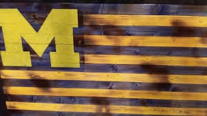 Michigans Flag Rustic U Of M Flag