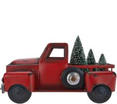 Vintage Ford Truck Apparel - vintage metal red truck with 3 removable bottlebrush treesby