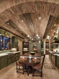 an arched brick ceiling with exposed wood beams provides