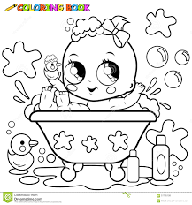 baby taking a bath coloring page stock vector image 57765108