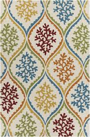 Cream And Blue Rug Terra Collection Hand Tufted Area Rug In Cream Blue Green U0026 Red