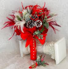 Red Wedding Bouquets Winter Wedding Bouquet Red Bridal Bouquet Holiday Wedding
