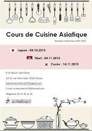 cours cuisine rouen ecole coréenne de rouen inscription cours de cuisine asiatique