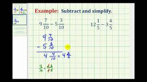 Subtracting Mixed Fractions Worksheets Ex Subtract Mixed Numbers With Like Denominators Youtube