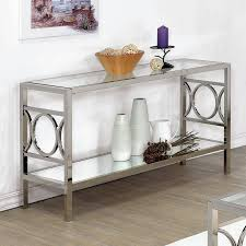 glass and metal console table furniture of america mishie contemporary glass top sofa table by