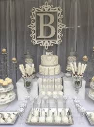 Diamond Wedding Party Decorations Diamonds And Pearls Candy Buffet All White Party Milestone