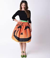 1950s orange pumpkin dot high waist circle swing skirt 78