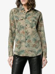 laurent palm tree print sleeve shirt farfetch
