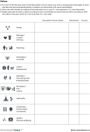 Free Marriage Counseling Worksheets by Values Worksheet Psychology Tools