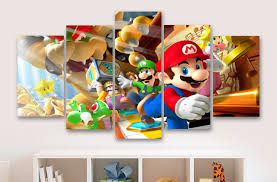 super mario and friends childrens gaming 5 piece panel super mario and friends childrens gaming 5 piece panel canvas wall art