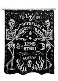 Sourpuss Shower Curtain Too Fast Skeleton Ouija Shower Curtain Attitude Clothing