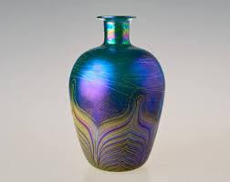 Glass Vase Art Bohemian Glass Etsy