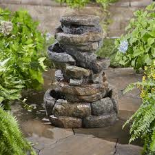 garden oasis 360 degree rock fountain with 4 led lights