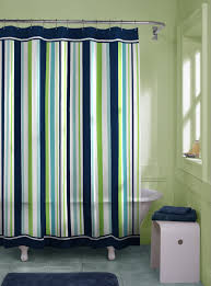 minimalist bathroom with striped vertical shower curtain lengths