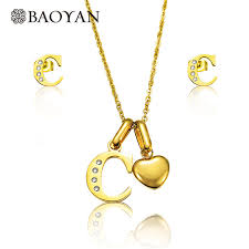 heart charm pendant necklace images Baoyan 316l stainless steel jewelry gold color initial letter name jpg