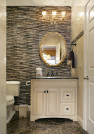 Bathroom Beautiful Powder Room Ideas With Matchstick Tile Wall And Gold Bathroom Light Fixtures