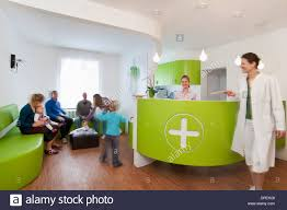 medical waiting room and reception desk stock photo royalty free