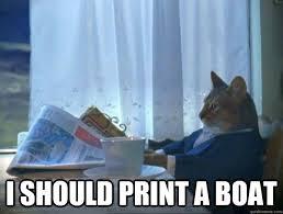 Meme Print - i should print a boat morning realization newspaper cat meme