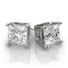 stud diamond earrings diamond earrings excellent princess cut russian lab diamond