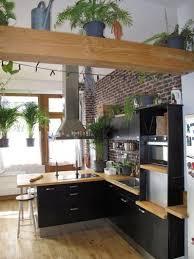 cuisine avec mur en deco cuisine noir et bois photos de design d intérieur et