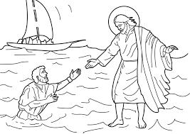 jesus walking water coloring