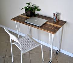 wood desk with hairpin legs with casters