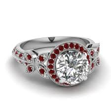 ruby red rings images White gold round white diamond engagement wedding ring red ruby in jpg