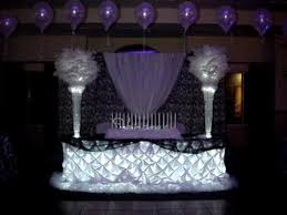 sweet 16 centerpieces b w damask themed centerpieces linens back drop by sweet 16