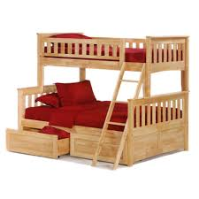 Two Floor Bed by Brown Oak Bunk Bed With Ladder And Drawers Plus Retangular Red Rug