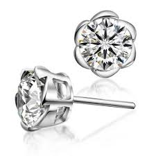 stud earring swiss diamond stetting flower stud earring in 925 sterling silver