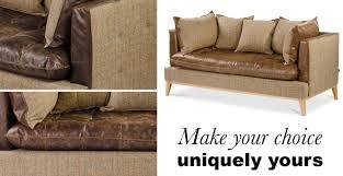 portland leather and harris tweed sofa bespoke options modish living