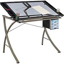 Glass Drafting Tables Altra Metalglass Drafting Table 30 H X 40 12 W X 23 35 D Silver By