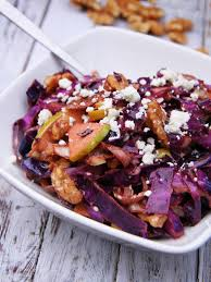 warmed red cabbage salad with toasted walnuts u0026 goat cheese