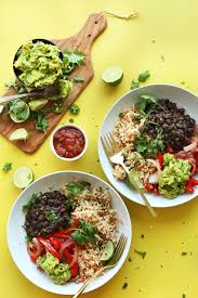 cauliflower rice burrito bowls minimalist baker recipes