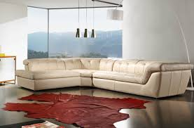 L Shaped Sectional Sleeper Sofa by Curved Ivory Leather Sofa With Chaise Lounge And Backrest In Gray
