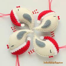 handmade by helga felt birds with santa hats