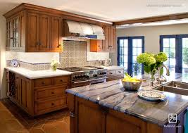 Island In Kitchen Pictures blue granite on island in kitchen distressed cherry cabinetry and