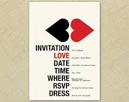 wedding invitation retro kissing hearts red cream black funky